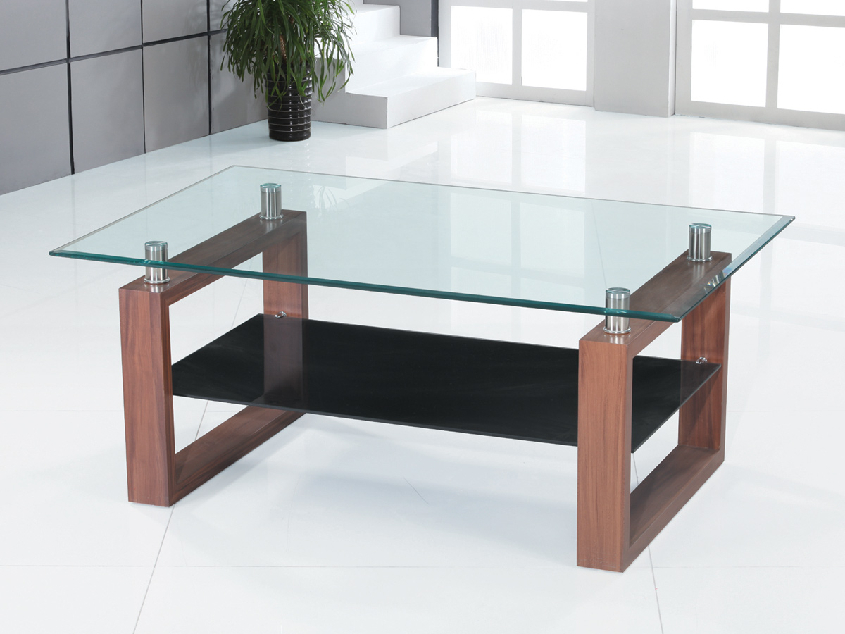 Couchtisch Glas Ablage Coffee Table Clear & Black Glass Dark Wood Legs 1 Shelf