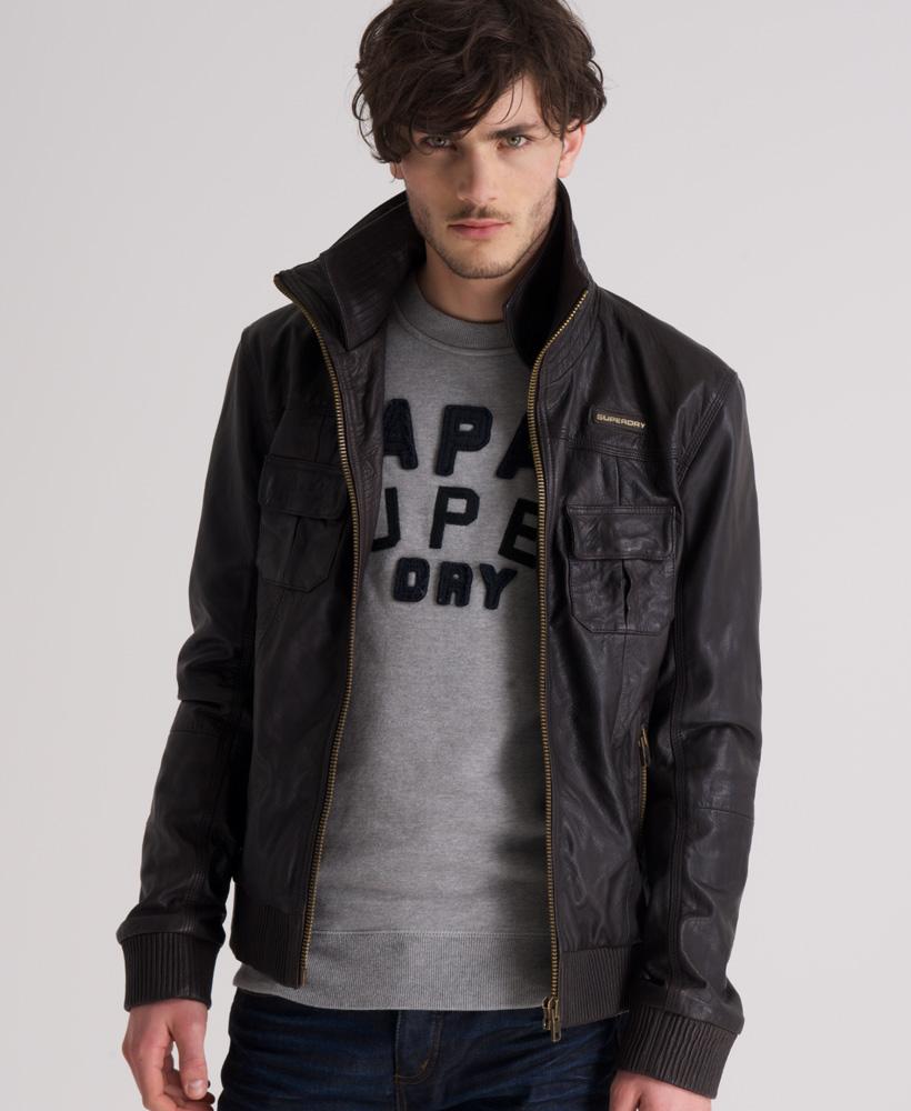 New mens superdry ryan leather bomber jacket darkest brown