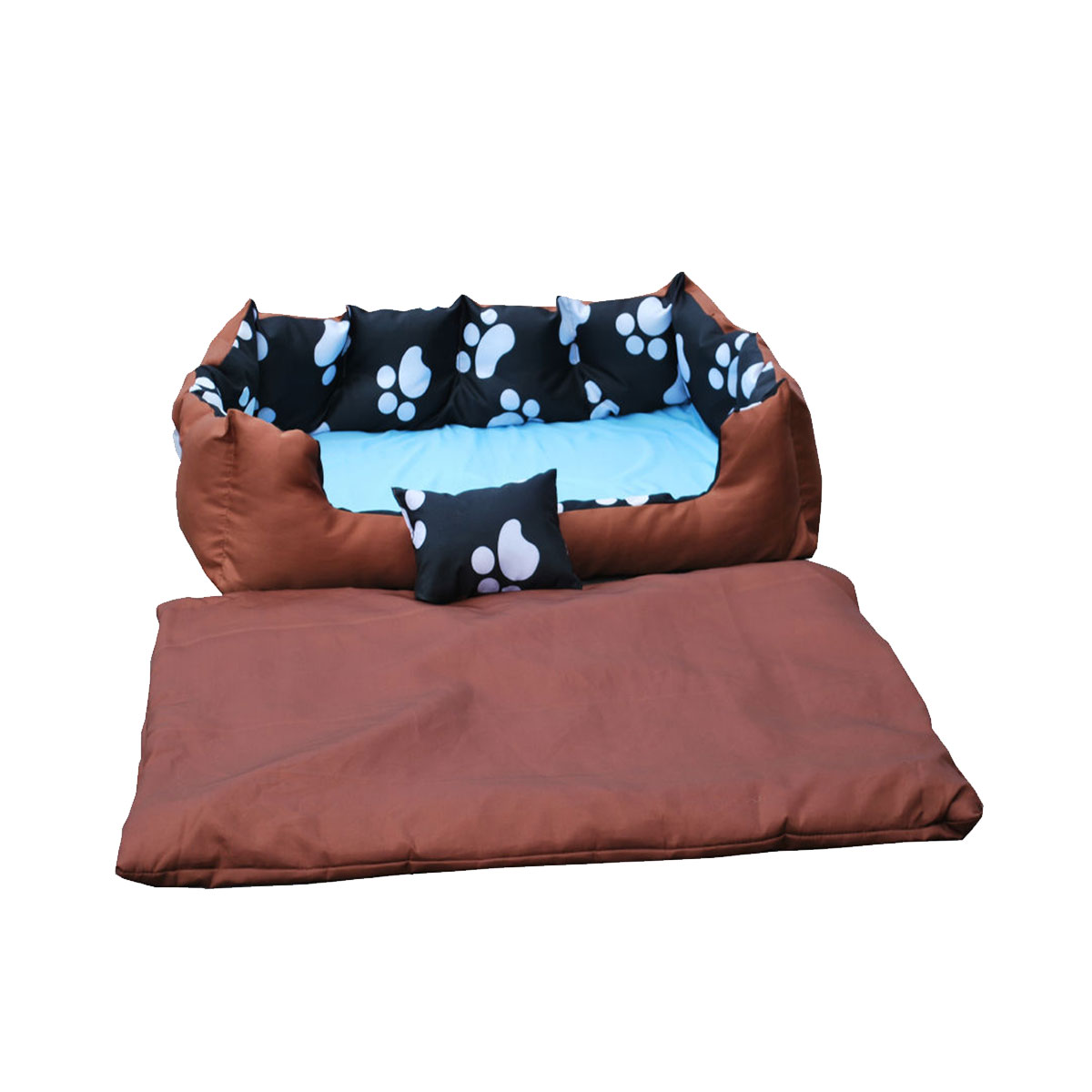 Paw Print Pet Bed Dog Cat Soft Washable Cushion Basket