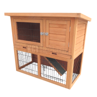 3FT OUTDOOR RABBIT HUTCH AND RUN WITH 2 TWO TIER WOODEN ...