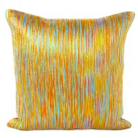 Orange and Blue Embroidered Throw Pillow Cushion Cover ...