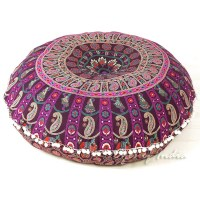 Purple & Pink Bohemian Floor Pillow Cushion   Mandala ...