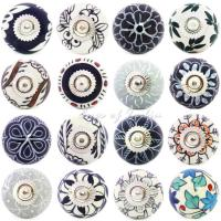 Floral Ceramic Knobs in Greys & Blues | Eyes of India ...