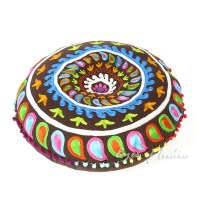 Brown Round Decorative Seating Colorful Floor Cushion Boho ...