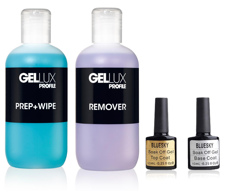 Gel Polish Nail Manicure Kit Shellac Bluesky Top Base Coat