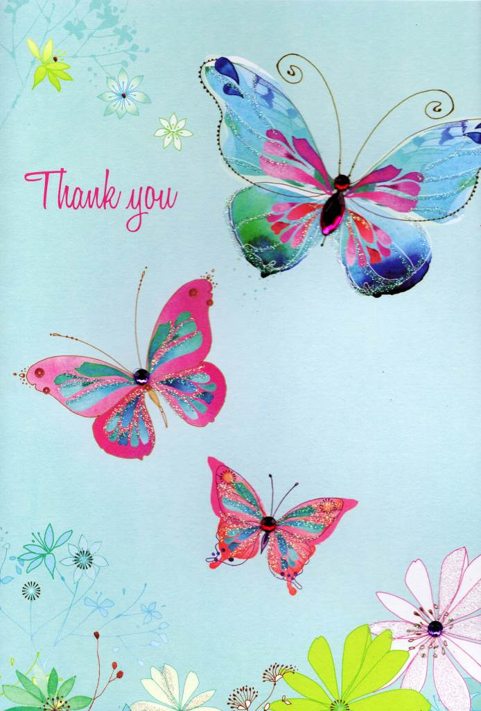 Thankyou Butterfly Greeting Card Water Colours By Second Nature - butterfly thank you cards
