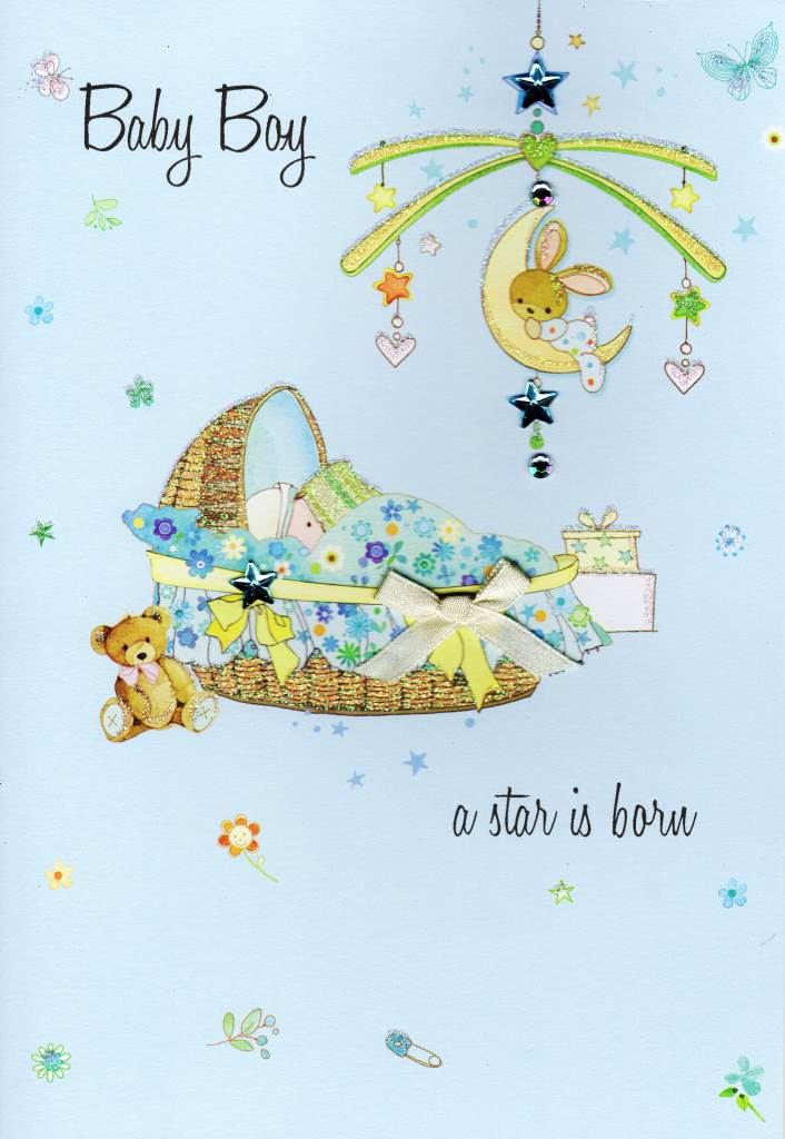 New Baby Boy Congratulations Card Water Colours By Second Nature - congratulation for the baby boy