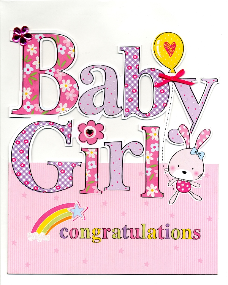 Large New Baby Girl Congratulations Greeting Card Cards