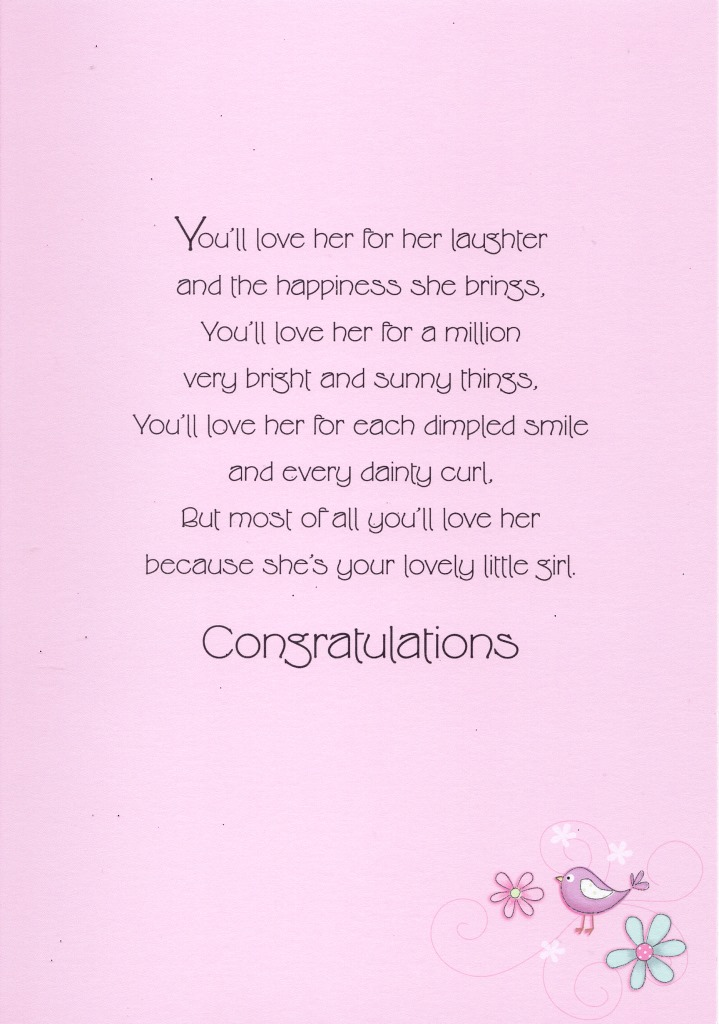 Precious Baby Girl New Baby Greeting Card Lovely Greetings Cards