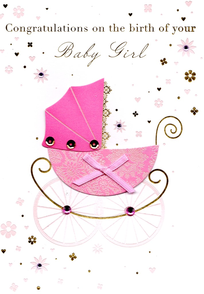 Congratulations Birth New Baby Girl Greeting Card Cards Love Kates