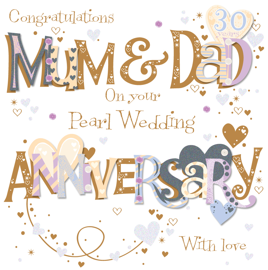 Married Couple Wallpaper With Quotes Mum Amp Dad Pearl 30th Wedding Anniversary Greeting Card