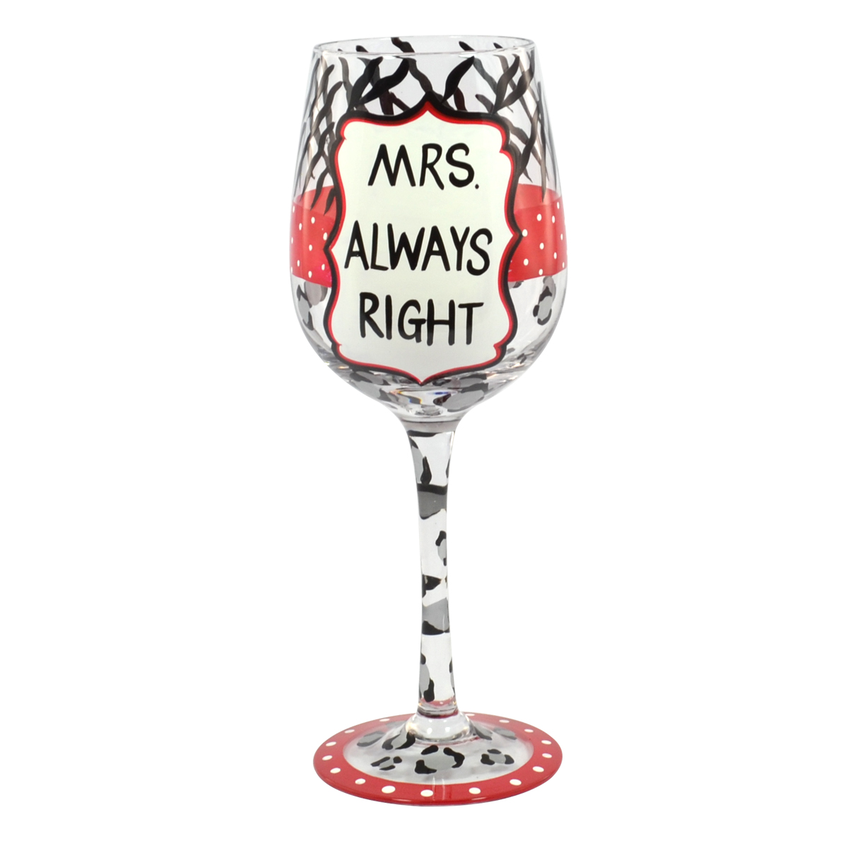 Bettwäsche Mrs Always Right Mrs Always Right Off The Cuff Decorated Wine Glass In Gift