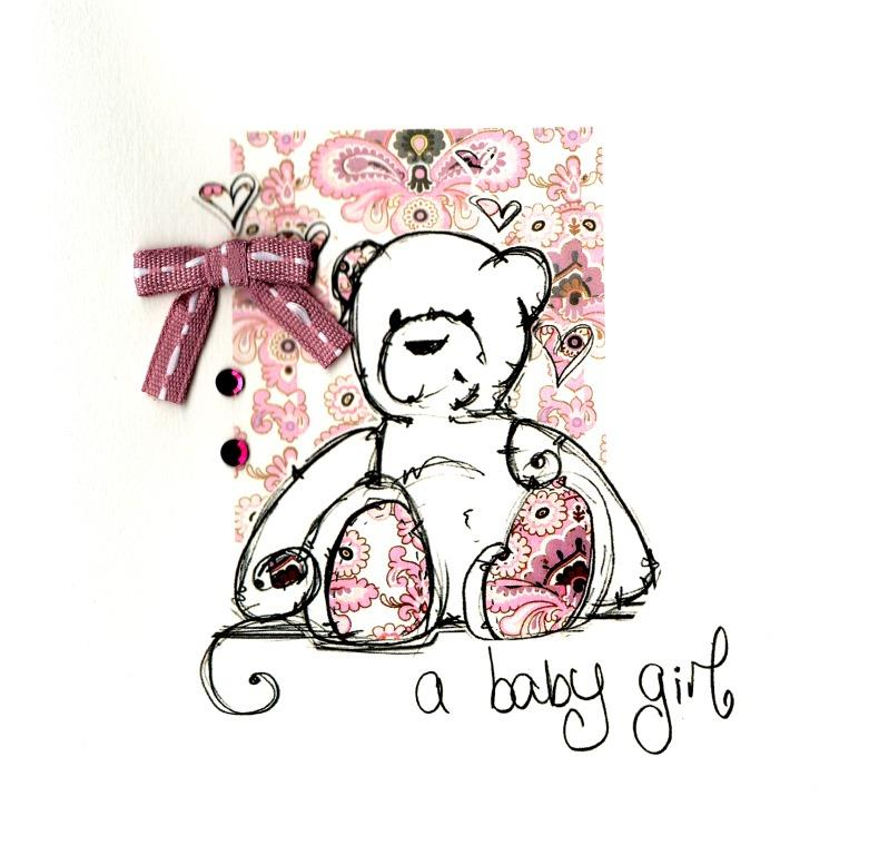 New Baby Girl Congratulations Embellished Greeting Card Cards - baby girl congratulations card
