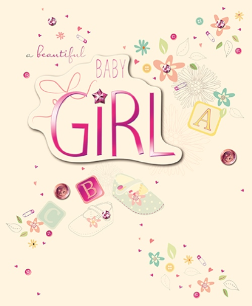 New Baby Girl Embellished Congratulations Greeting Card Cards - baby girl congratulations card