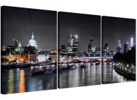 Cheap London Skyline at Night Canvas Art 3 Panel for your ...