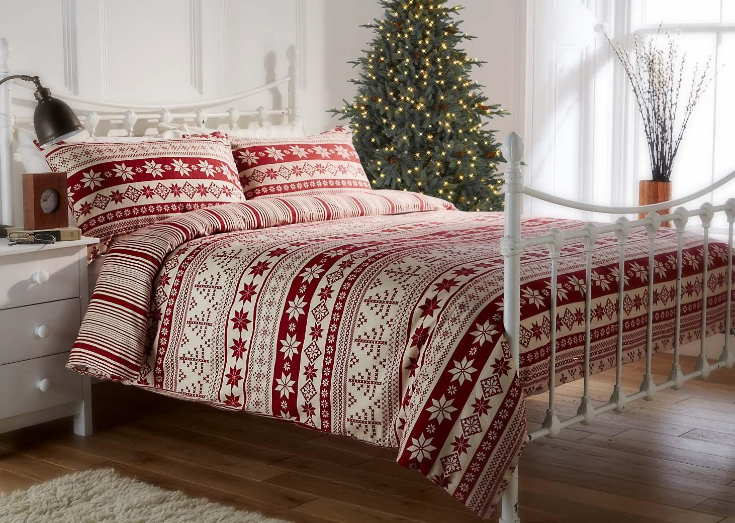 100 Brushed Cotton Flannelette Nordic Print Duvet Set In