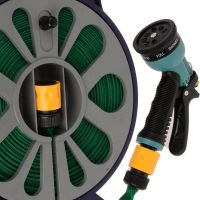 15m Flat Garden Hose Pipe & Reel with Spray Nozzle Gun ...