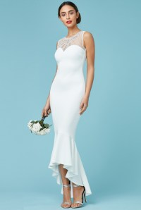 Goddiva Womens Maxi Wedding Dress, White, Embellished ...