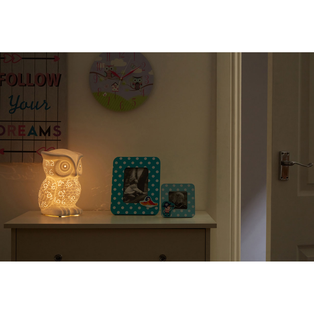 Childrens Bedside Lights Kids Owl Night Light White Ceramic Bedside Table Lamp