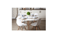 5PC White High Gloss Round Dining Set Table 4 Beech Wood ...