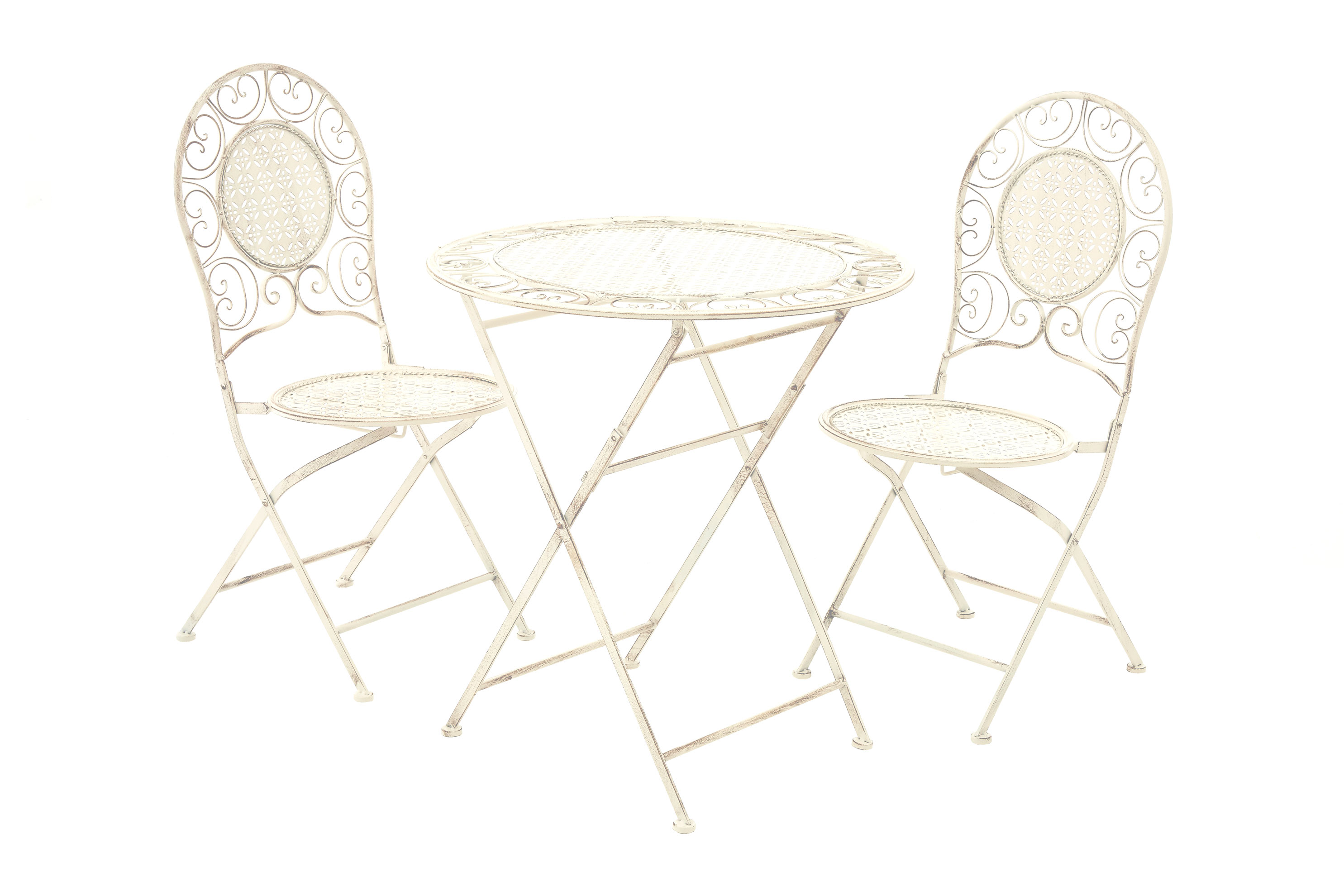 Wrought Iron 3 Piece Outdoor Setting 3pc Cream Wrought Iron Table Set 1 Folding Table 2 Folding