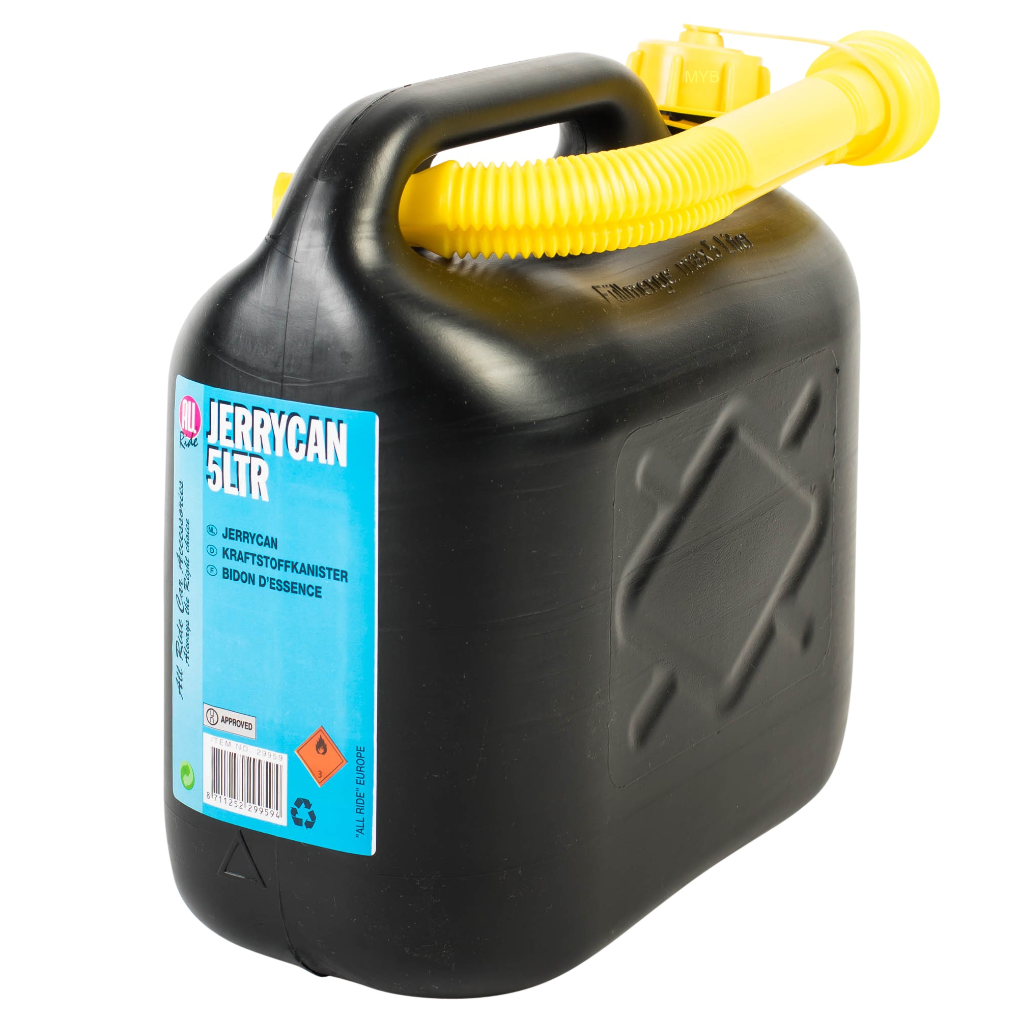 Jerrycan Action Black Plastic Jerry Fuel Can Petrol Diesel Water Container