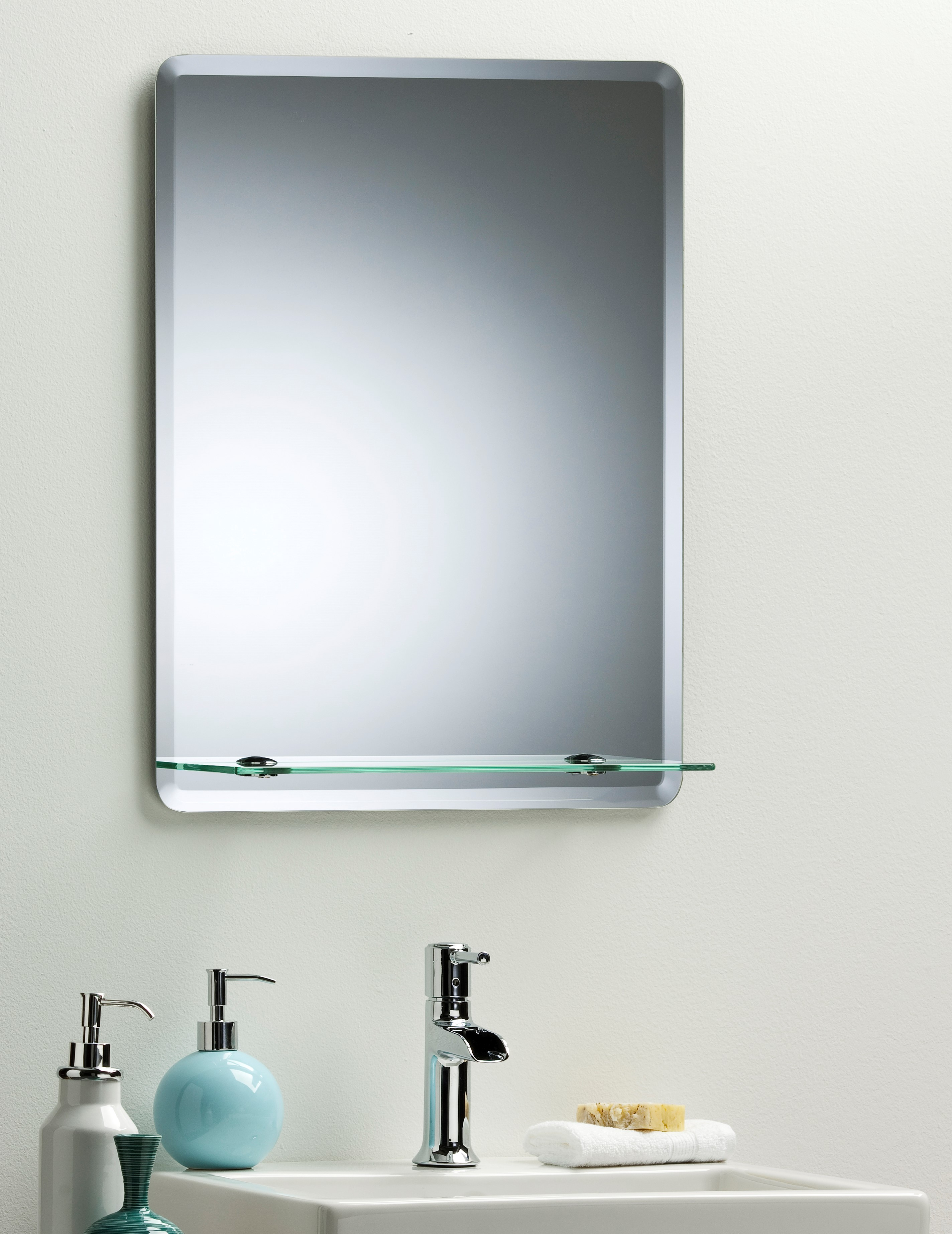 Wc Spiegel Bathroom Mirror Modern Stylish Rectangular With Shelf