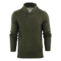 Mens Jumper Brave Soul Khan Shawl Neck Cable Knitted ...