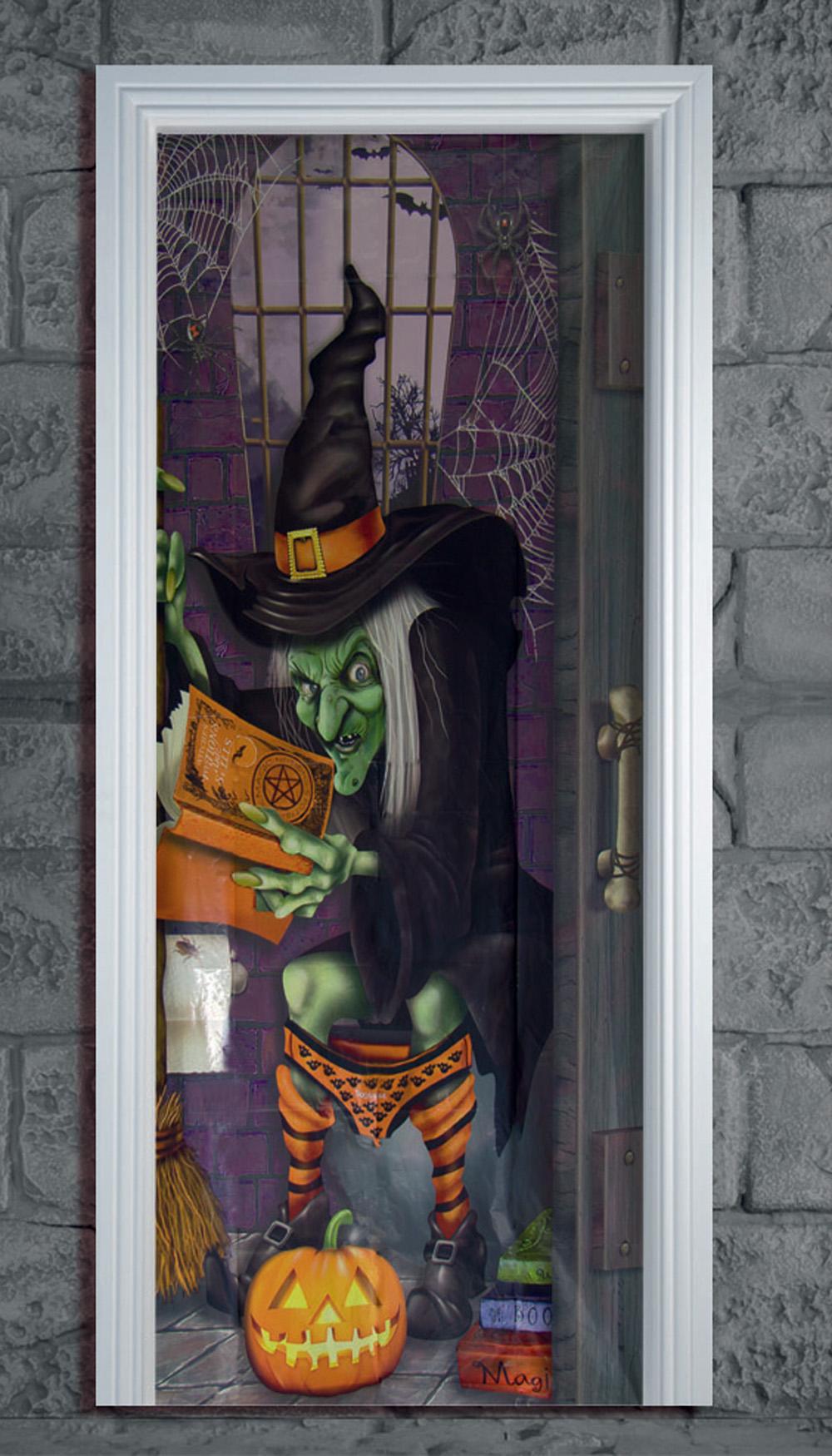 Halloween Toilet Bathroom Door Cover Poster Party