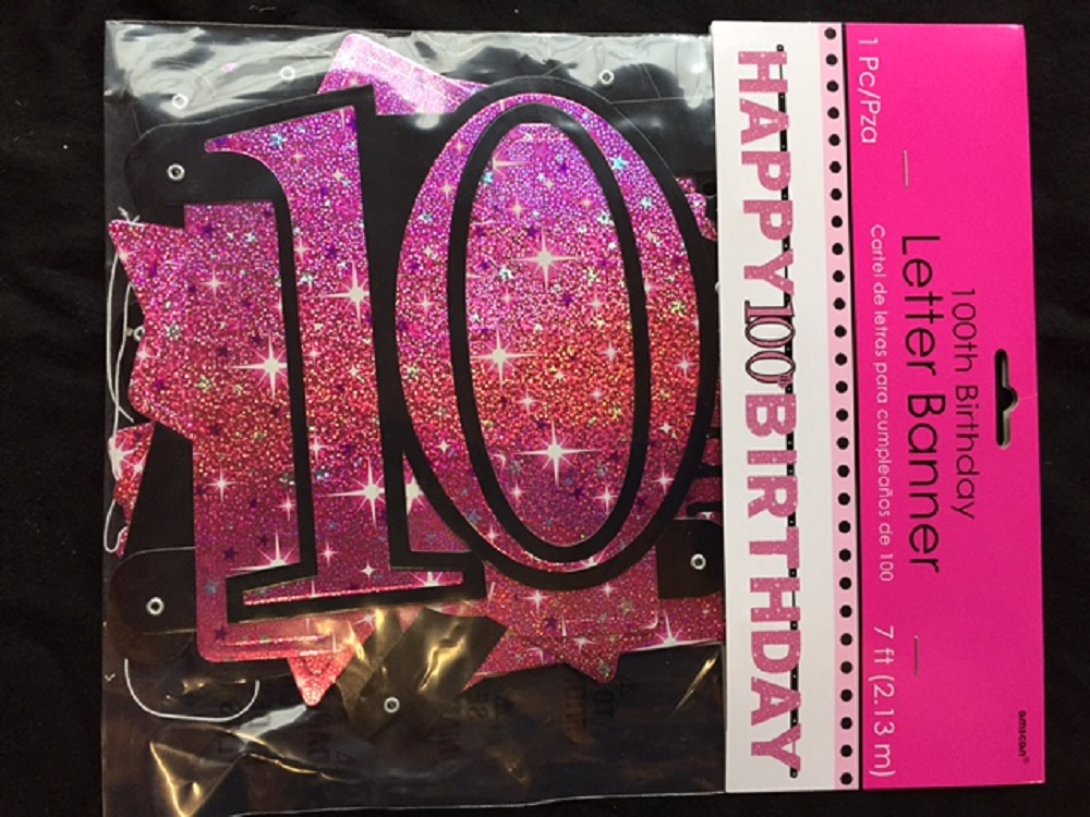 Large 100th Birthday Letter Banner Pink Party Decoration Age 100