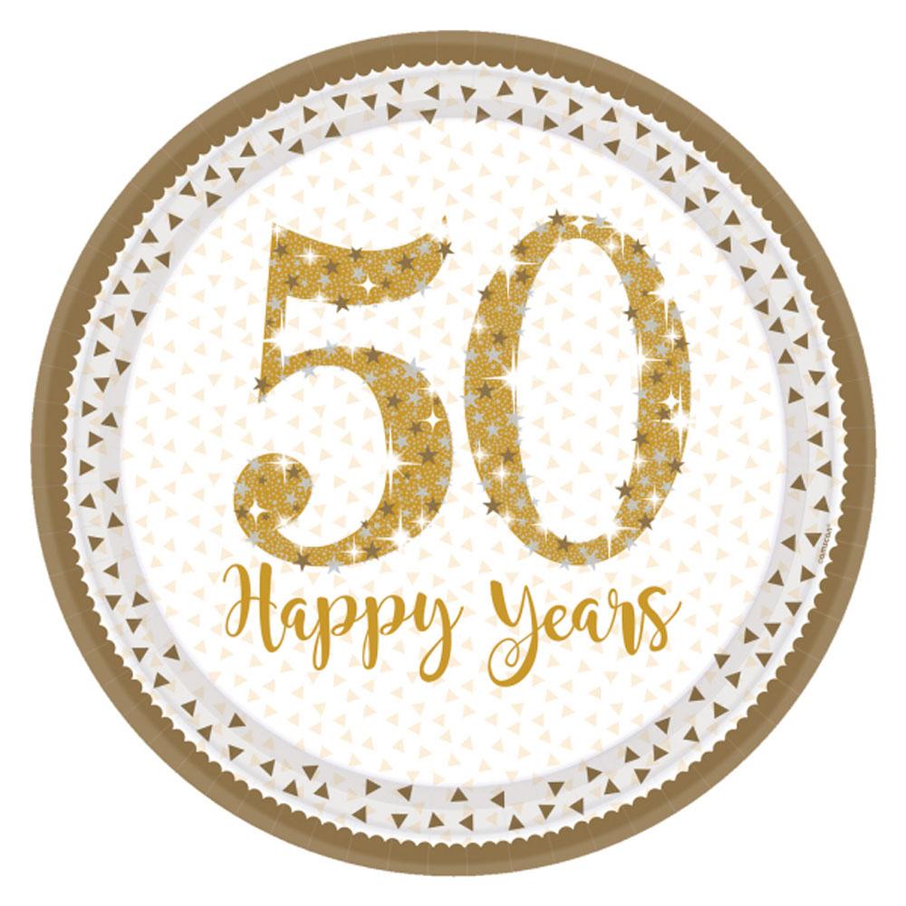 8 x Golden Wedding Plates Sparkling Gold 50th Anniversary