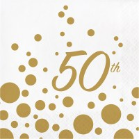16 x Golden Wedding Party Paper Napkins 50th Anniversary ...
