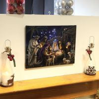 Nativity Scene Canvas with Light up LED bulbs Christmas ...