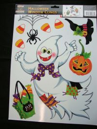 Large Sheet Halloween Window Stickers Decorations - Ghost ...
