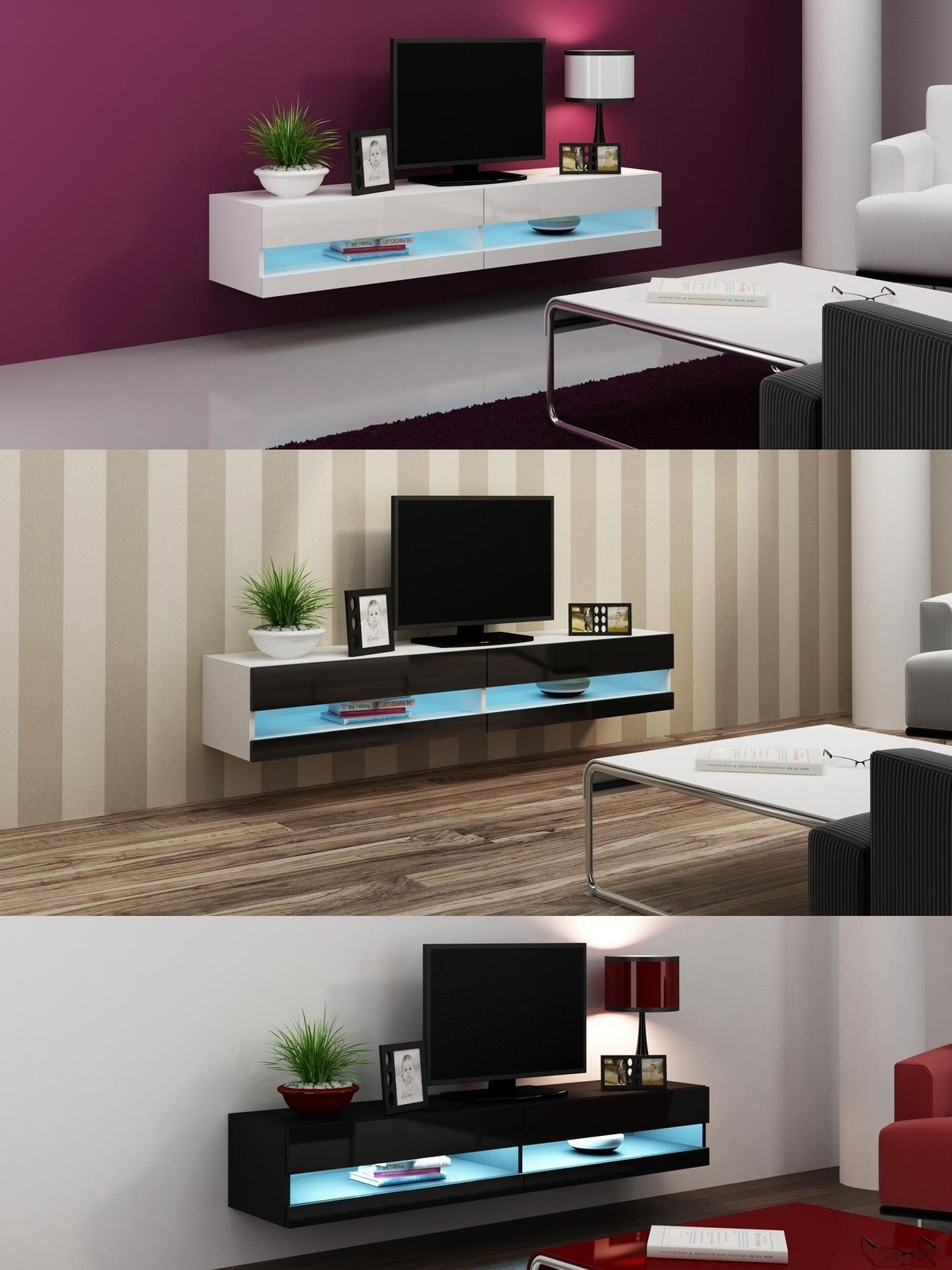 Floating Wall Mounted Tv Unit Tv Stand Cabinet With Led Lights High Gloss