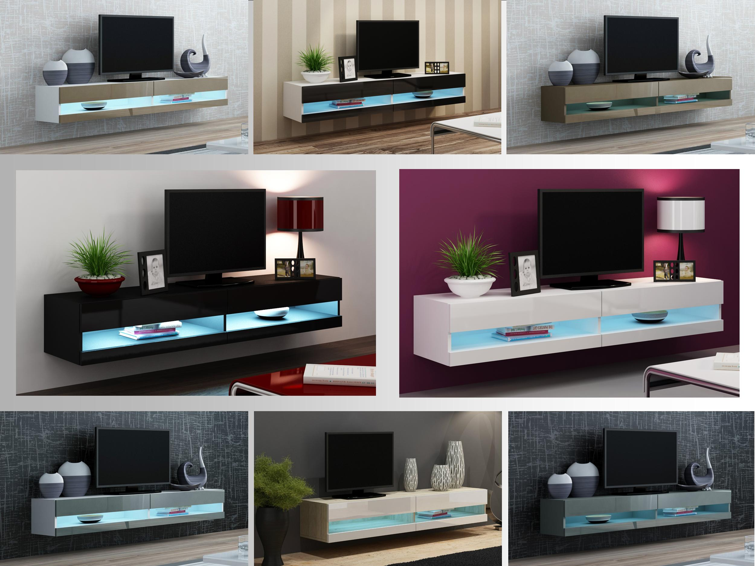 Floating Tv Unit Wall Mounted Tv Stand Cabinet With Led Lights High Gloss