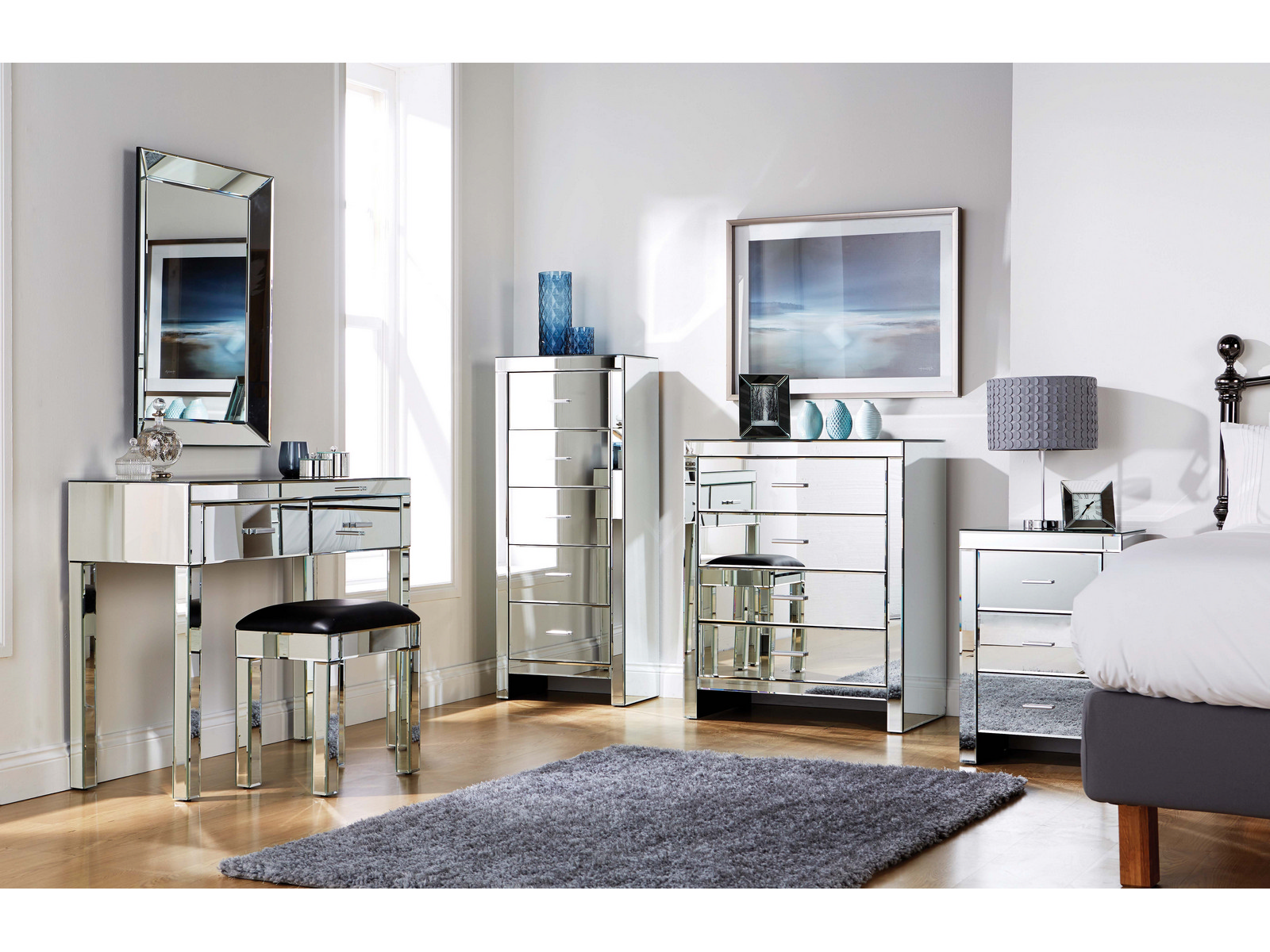 Mirrored Furniture Bedroom Collection Glass Chest Drawers Dressing Table Range Ebay