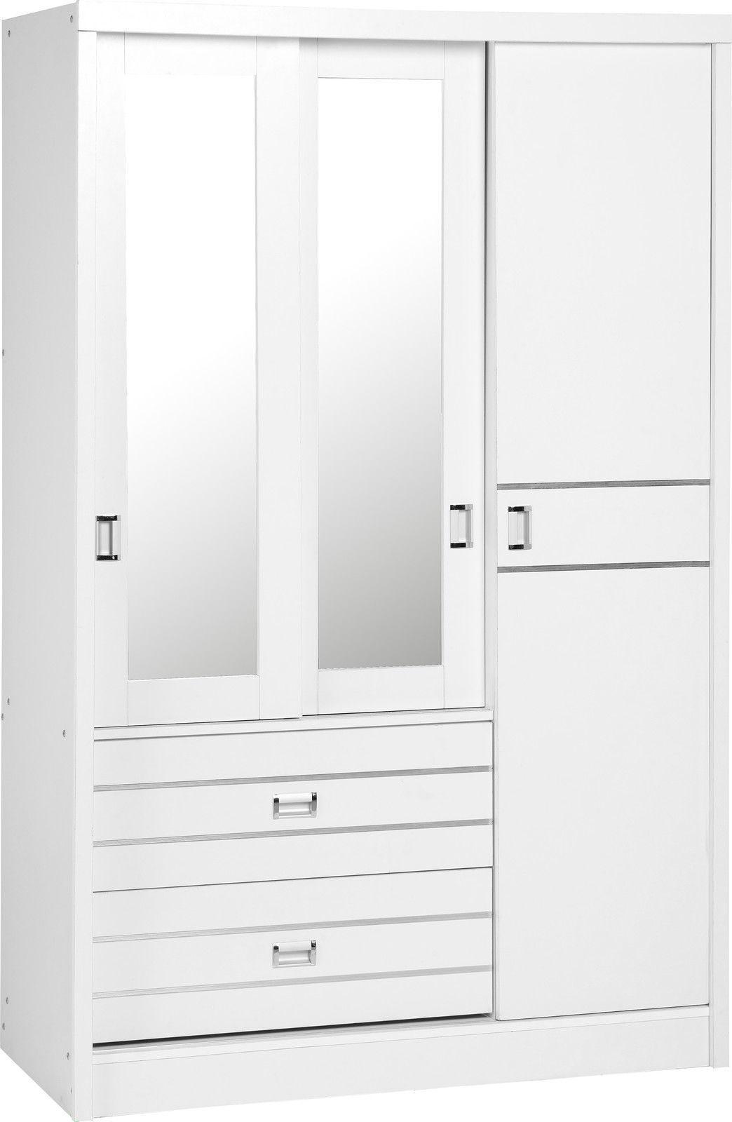 Jordan White Silver 3 Door 2 Drawer Sliding Mirrored