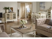 Juliette Cream & Pine Living Room Furniture -Tables ...