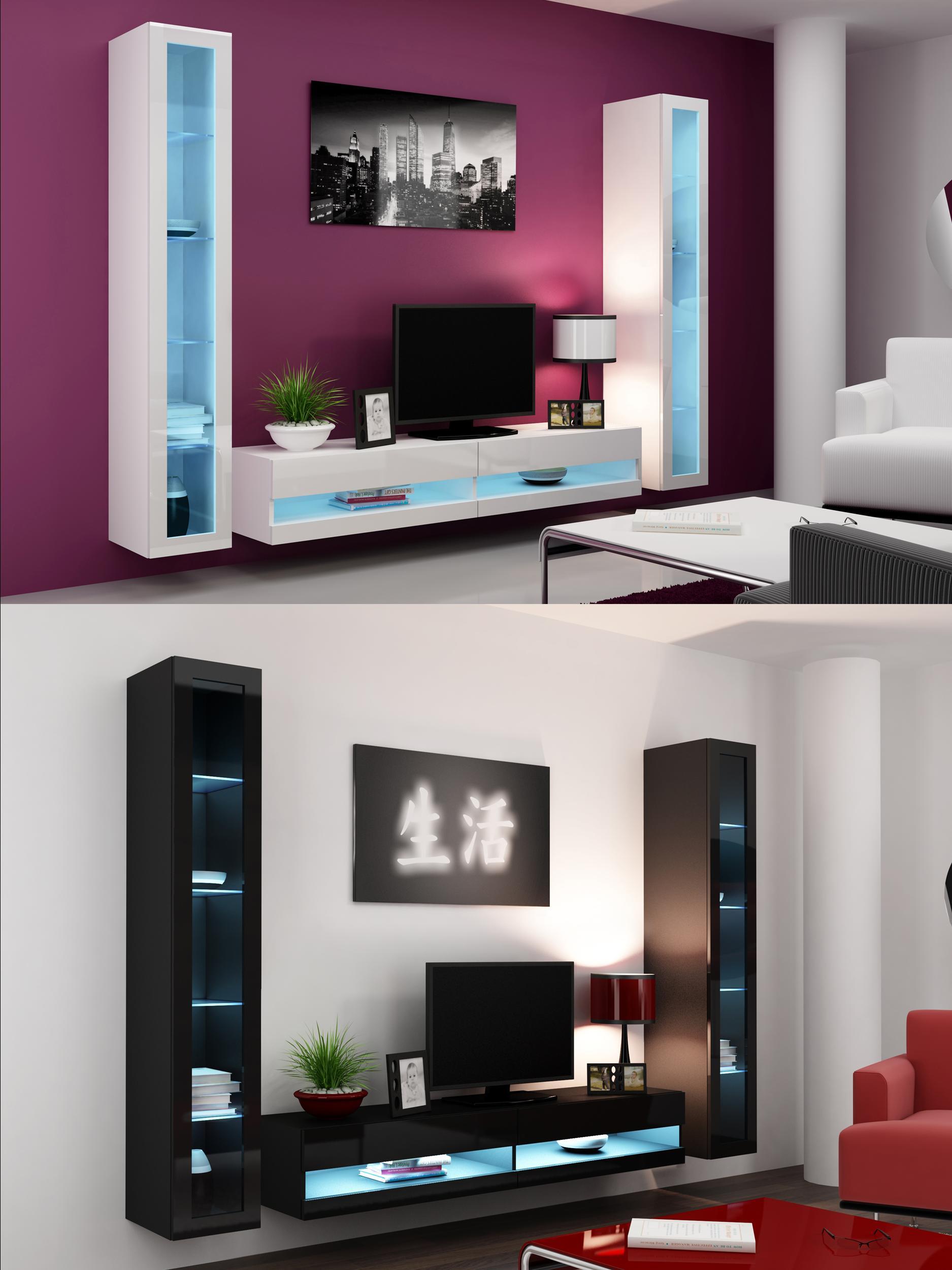 High Gloss Living Room Set with LED Lights, TV Stand, Wall