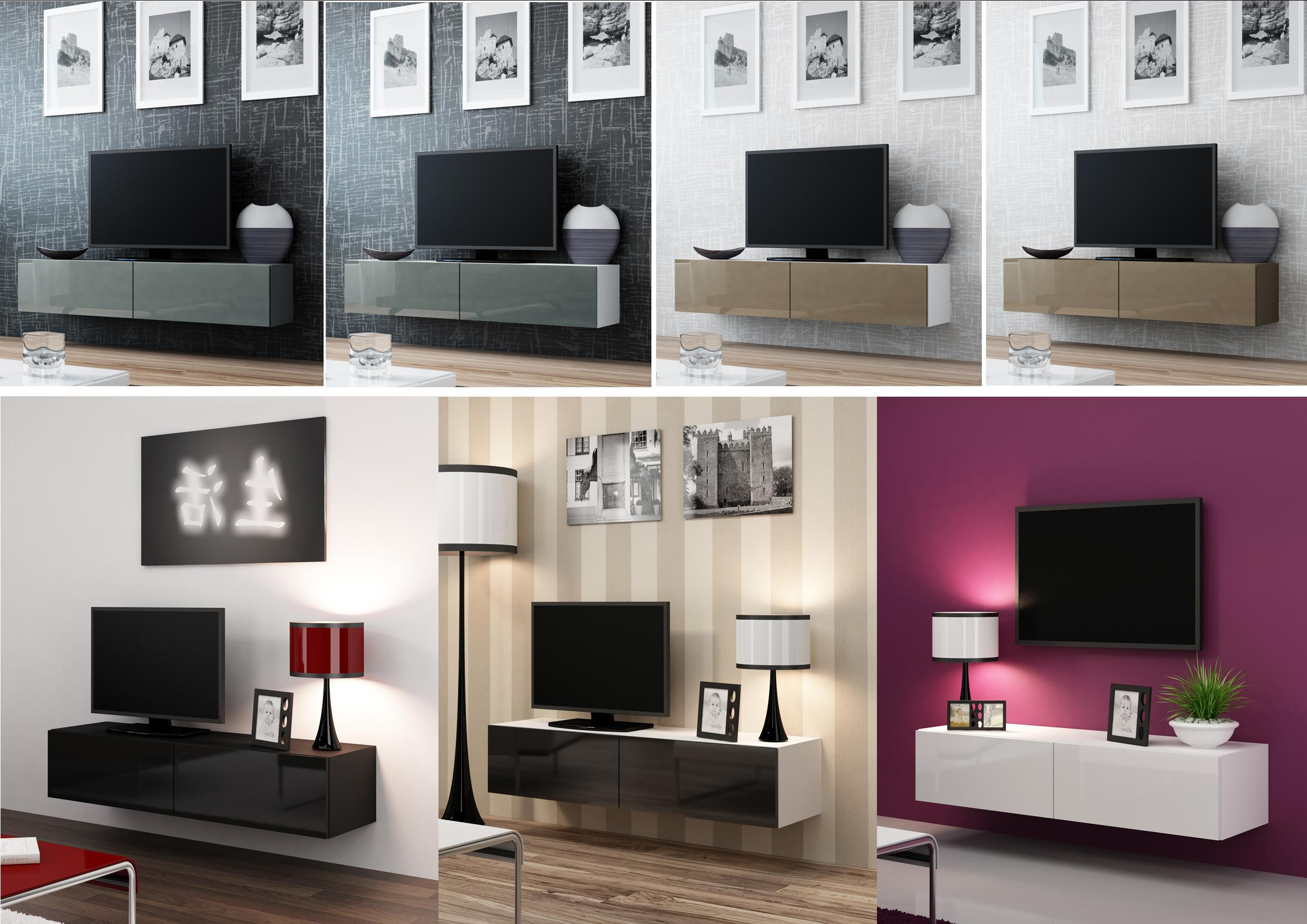Floating Tv Wall Unit High Gloss Tv Stand Cabinet Wall Mountable Floating