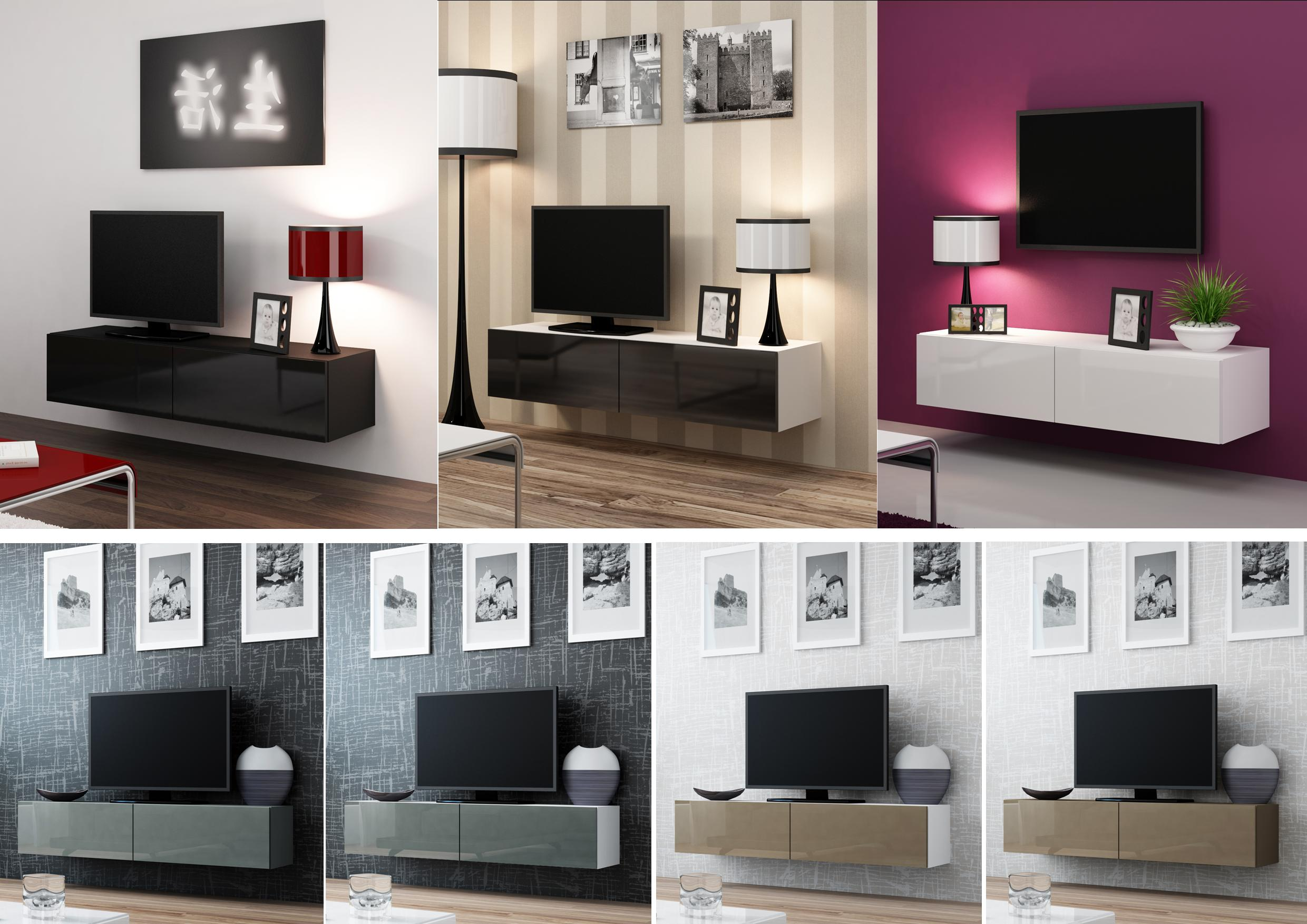 Wall Mounted Entertainment Unit High Gloss Tv Cabinet Entertainment Unit Floating Wall