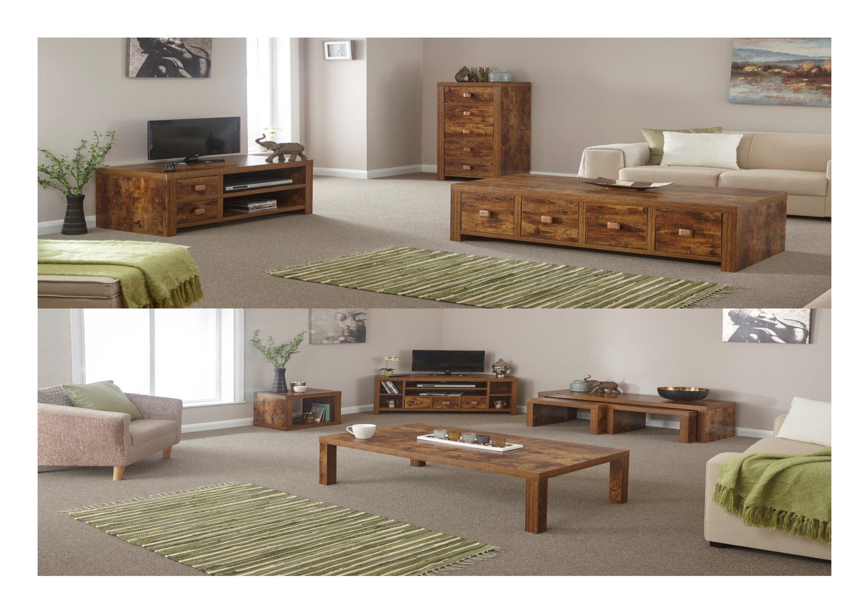 Slim Tv Unit Jakarta Mango Living Room Nest Table Slim Drawers Tv Unit