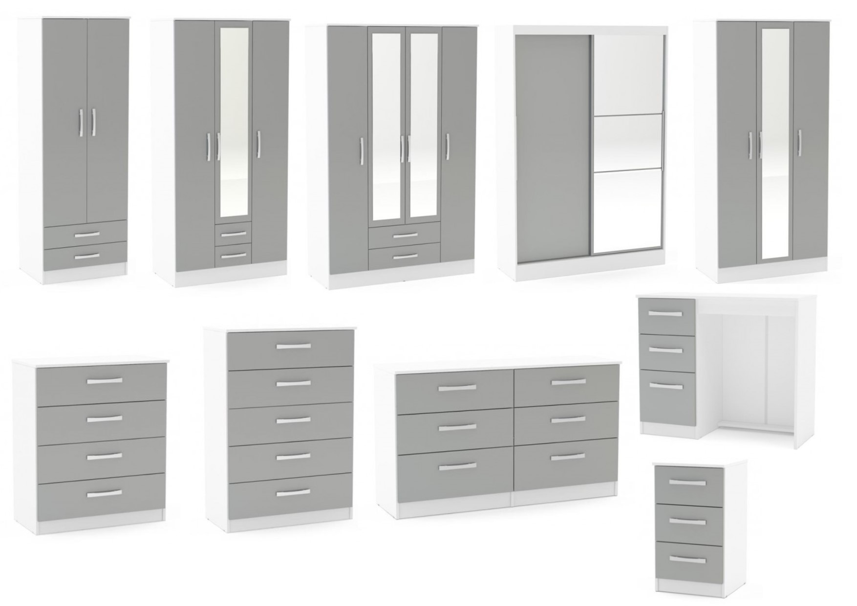 Grey And White Wardrobe Lynx White And Grey Gloss Bedroom Furniture Wardrobe Chest