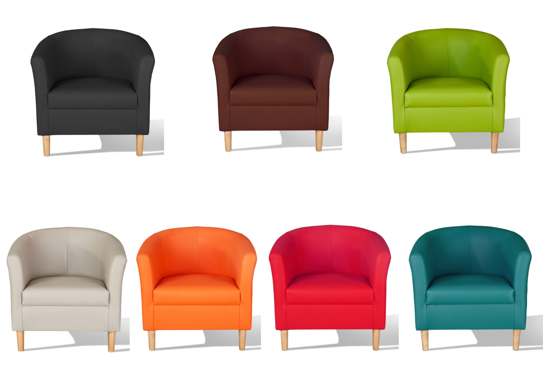 Tub Chairs Details About Hamony Faux Leather Tub Chairs Black Mocha Chestnut Red Teal Green