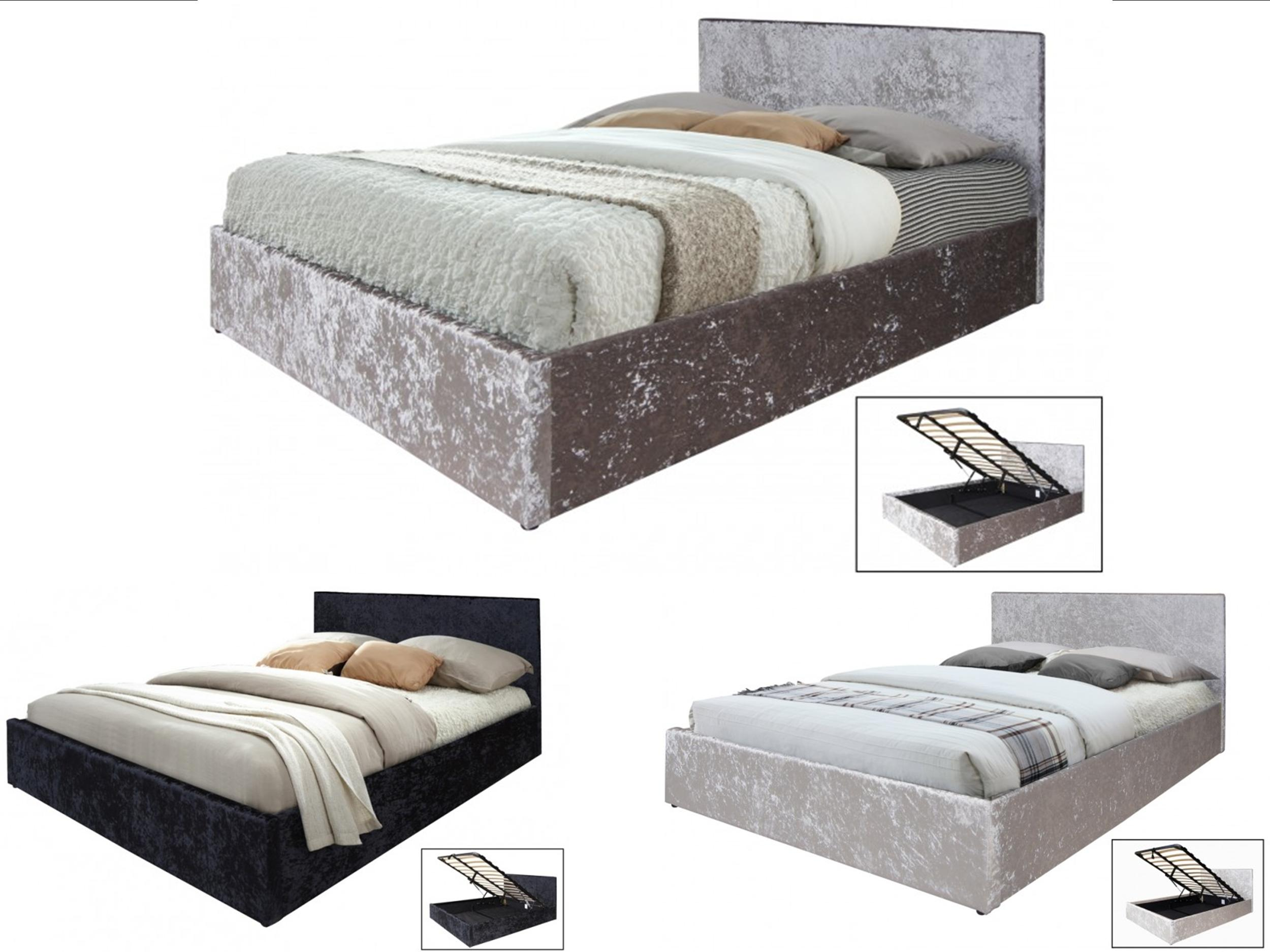 Gas Lift Ottoman Bed Home Furniture Diy Furniture New Crushed Velvet Boston 3ft 4ft6