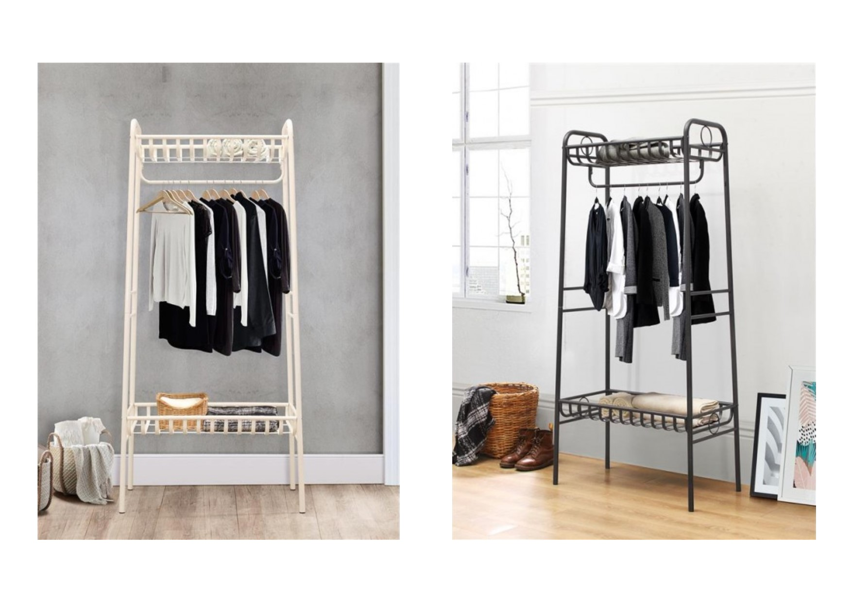 Industrial Wardrobes Birlea Holmes Industrial Style Metal Clothes Hanging Rail
