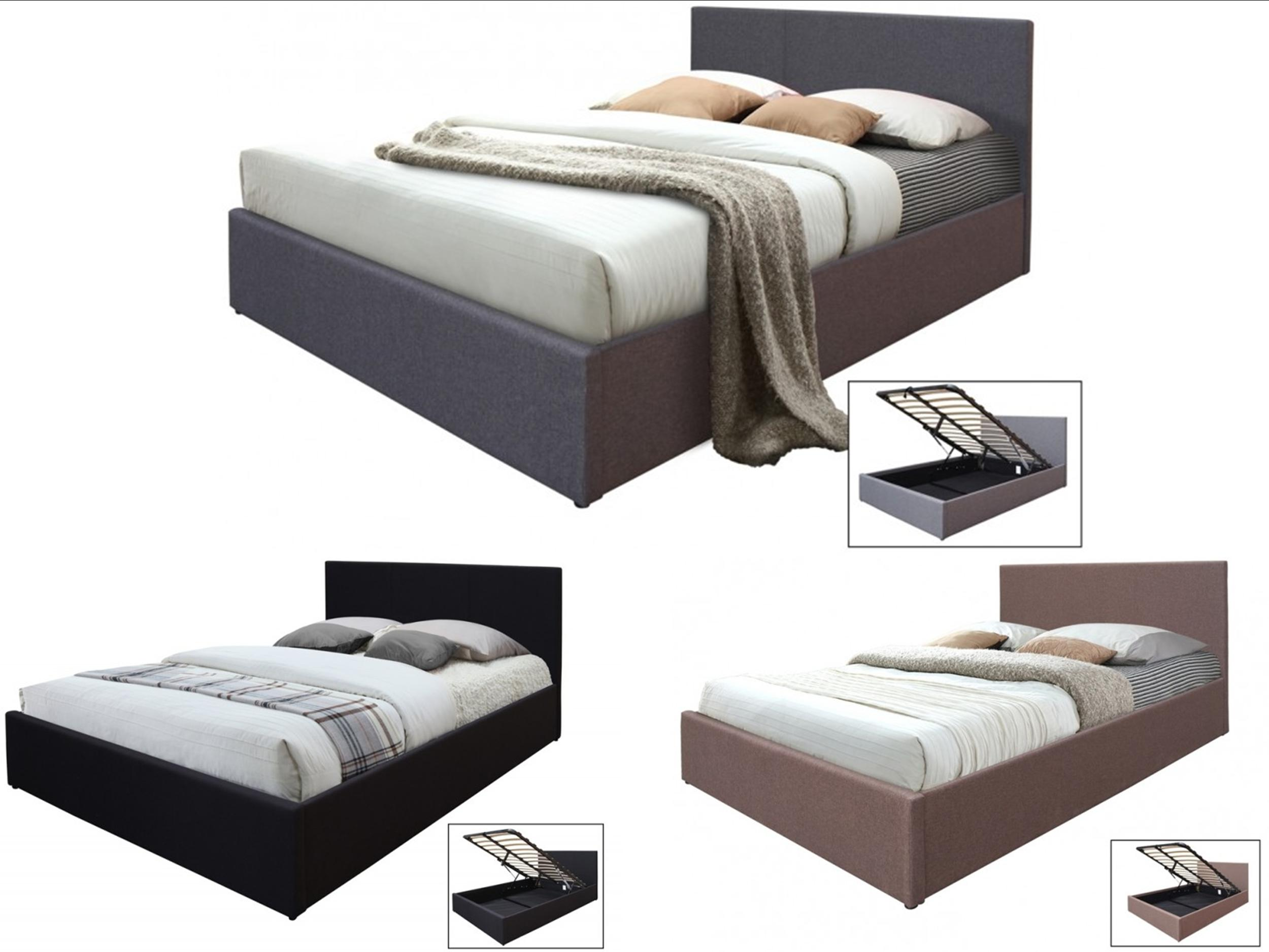Gas Lift Ottoman Bed Details About Hopsack Fabric Ottoman Storage Bed 4ft6 Double Gas Lift Up Black Brown Grey