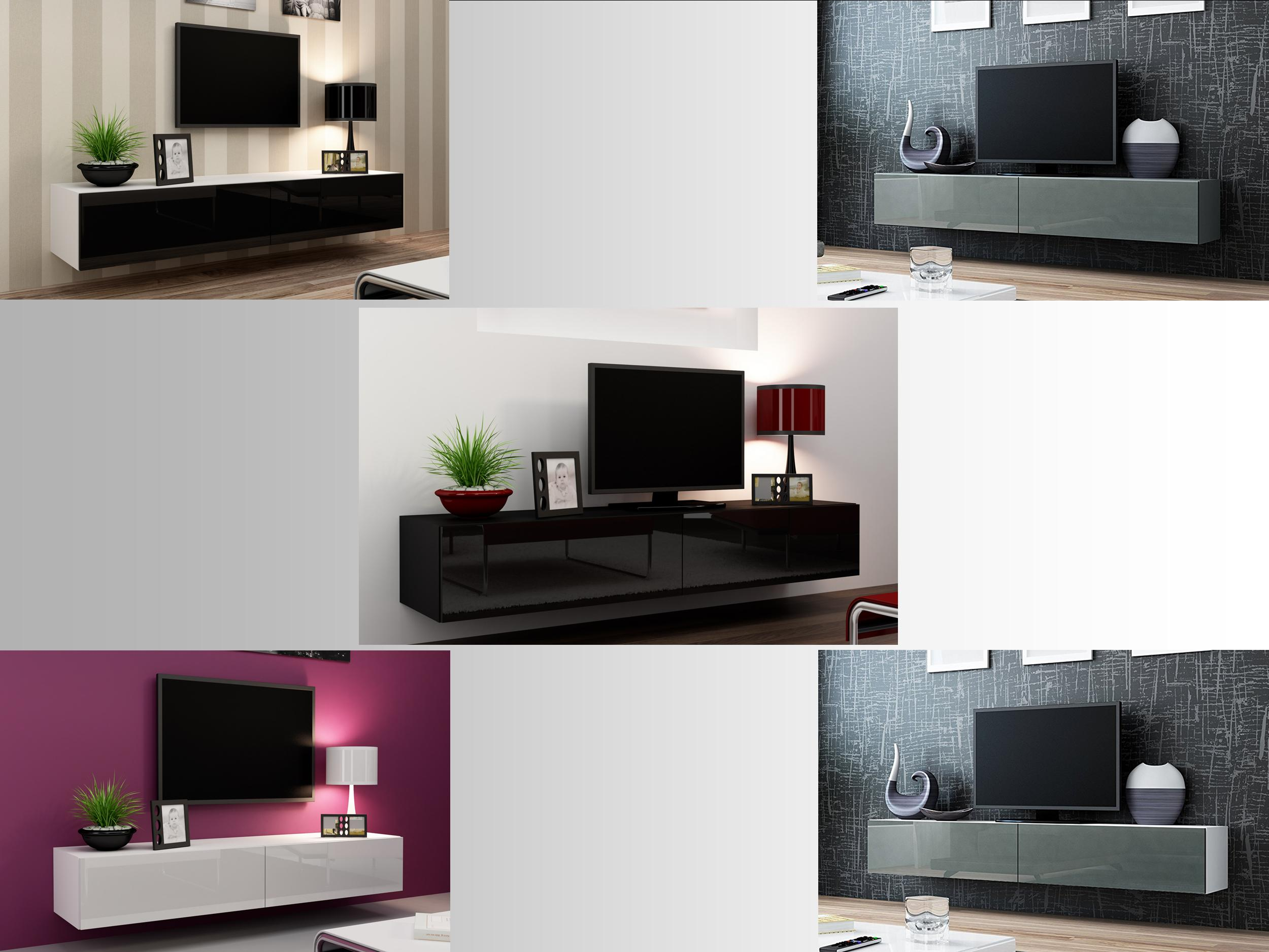 Floating Wall Mounted Tv Unit High Gloss Tv Stand Entertainment Cabinet 180cm Floating