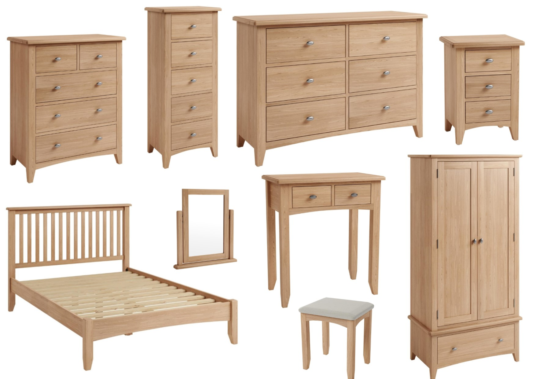 Cotswold Solid Oak Farmhouse Style Bedroom Furniture With Brushed Metal Handles Ebay